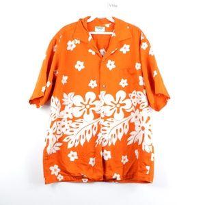 70s Mens XL Magnum PI Hawaiian Floral Shirt Orange